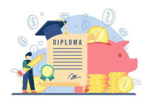 scholarship concept. a man get diploma scholarship. Piggy bank, stack of coins, graduation cap, Education concept, investment in knowledge, student loans,money savings for study. vector illustration